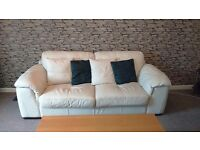 WHITE LEATHER SOFA SUITE