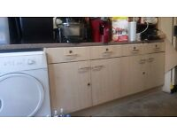 Kitchen cupboards and worktop