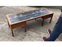 Rare Mid Century early E Gomme G plan large coffee table With faux marble painted top. Excellent