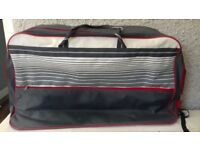 St Michael Veloce Suitcase plastic / vinly covering lightweight colour Grey/White, Red Trim