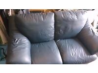 Navy 2 seater leather sofa for sale