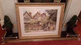 large gold framed picture, top quality frame, signed to mount