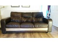 Sofa dfs 3 seater in italian brown leather