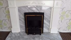 Electric fire + surround +marble backing & marble hearth