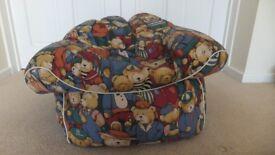 Child's bean bag chair teddy bear fabric