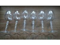 Set of 6 Vintage Cut Glass Wine Glasses