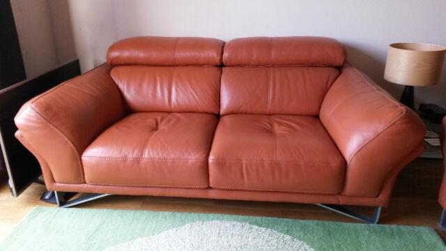 Modern Terracotta Leather Sofa In