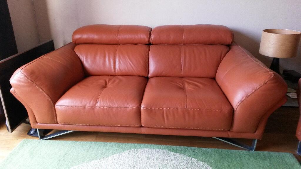 Modern Terracotta Leather Sofa In The Shore Edinburgh