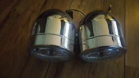 motorcycle chrome twin headlights ,universal fit . brand new ,never been used