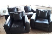 3 Seater Sofa & 2 armchairs, Soft Chocolate Leather