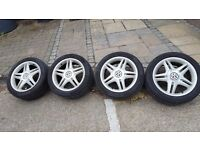 VW mk4 Golf 5x100 alloy wheels Continental tyres