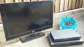 "LG 32"" TV & Panasonic DVD recorder & Humax Digital Personal Video recorder"