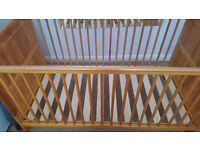 USED COT BED 0-5 YEARS, MATRESS, BEECH WOOD and BEAR EFFECT