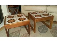 1970s tiled top coffee table x 2. Retro