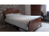 Matching Double Bed and Wardrobe Traditional Walnut