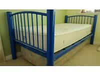 Single bed - blue metal frame