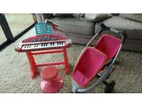 Children's Keyboard Piano & dolls twin buggy Pink