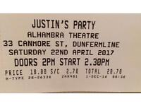 Justin's House Party Tickets 1 SOLD SOLD SOLD