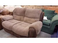 Two Two-seater Comfortable Brown Fully-reclining Sofas in Excellent Condition