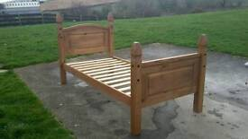 Mexican pine single bed frame