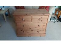 Chest of drawers - with antique pine effect stain in excellent condition.
