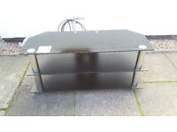 "BLACK GLASS TV STAND (45""x17.5""x20"" )"