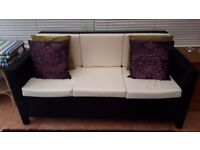 Rattan conservatory/garden 3 seater sofa 2 chairs