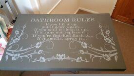 Bathroom Quote Bathroom Rules Canvas Wall Art