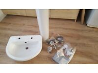 Toilet Bathroom White Basin,Full Pedestal, Basin Waste and Tap- All BRAND NEW £30 for Lot