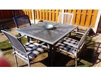 Grey Metal (Aluminium) Patio Table, 4 Chairs and Cushions