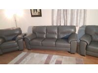 Ex-display Shades dark grey leather 3 seater sofas and 2 armchairs