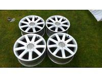 """Audi RS4 18"""" Inch 9 Spoke Wheels Genuine 5x100 8J ET33 225/40/18 TT S3 Golf FULL SET OF BOLTS"""