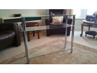 CHROME ANG GLASS DISPLAY SHELF UNIT