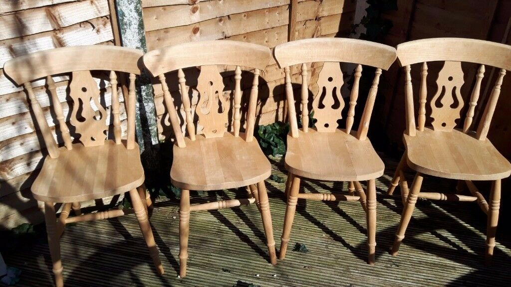 4 country style solid wood chairs