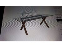 Glass dining table and 4 leather chairs