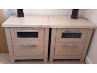 pair of light oak two drawer bedside cabinets