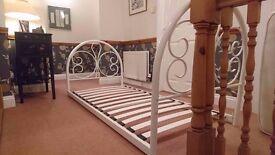 Single cream wrought iron bed frame, like new
