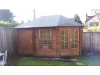 """SUMMER HOUSE & ATTACHED SHED..NO OFFERS..,14'3""""x 9'8"""" at widest points.FURNITURE PRICED SEPERATELY"""