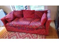 3 seater sofa with 'ethnic' material fitted cover