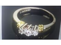 18k White & Yellow Gold Ring 0.25Ct Natural Diamond Ring RRP £900 Hallmarked