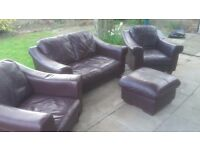 Leather 3 piece suite with pouffee