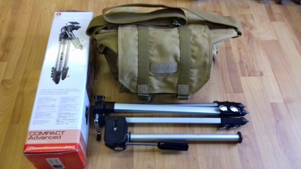 !_(£40) PYRAMID P-60 Camera Tripod + Ohuhu Brown dslr Digital Camera gadget organizer bag_!