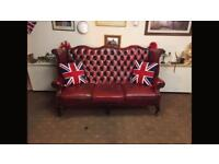 Chesterfield Queen Anne Wing Back 3 Seater Sofa For Sale