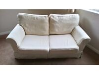 Sofa bed.Used twice. Washable white covers. Heavy Pine Table 6X2.5 feet.