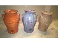 Ceramic Glazed Pot ideal for home or garden, 34cm tall pots are highly decorative, three colors,
