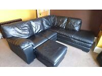 Black leather corner couch & foot rest for sale. Great condition.