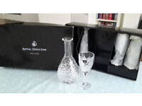 Royal Doulton Decanter and 4 wine glasses