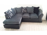 NEW Black Grey Grey Fabric Left Hand Corner Sofa Suite Free Local Delivery