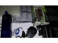 Aquarium equipment. 2xfilters fish feeder timer pump