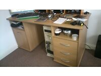 Desk. Beech 148 x 67cm. Plenty storage. Desk only. other items not for sale